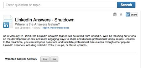 LinkedIn Answers Shutdown